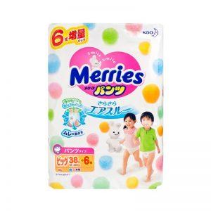 Bỉm Merries Nhật size XL Quần - 38+6 miếng (12 - 22 kg)