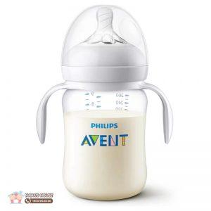 Bình sữa nhựa tay cầm Avent trắng (Set 2) - 260ml