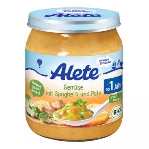 Hũ Alete Đức vị gà, spaghetti, súp lơ, cà rốt, bí ngòi - 250g (12m+)