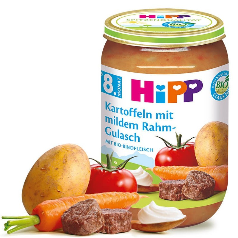 Hũ Hipp Đức vị bò, cà chua, cà rốt, khoai tây - 220g (8m+)