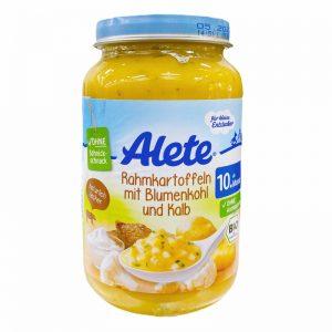 Hũ Alete Đức vị bò, khoai tây, súp lơ, kem - 220g (10m+)