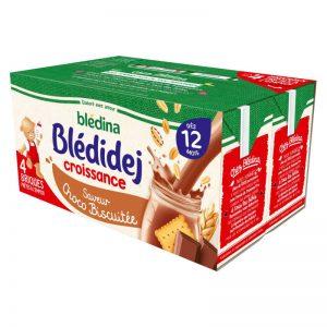 Sữa ngũ cốc Bledina Pháp vị bích quy, chocolat - 250ml x 4 hộp (12m)