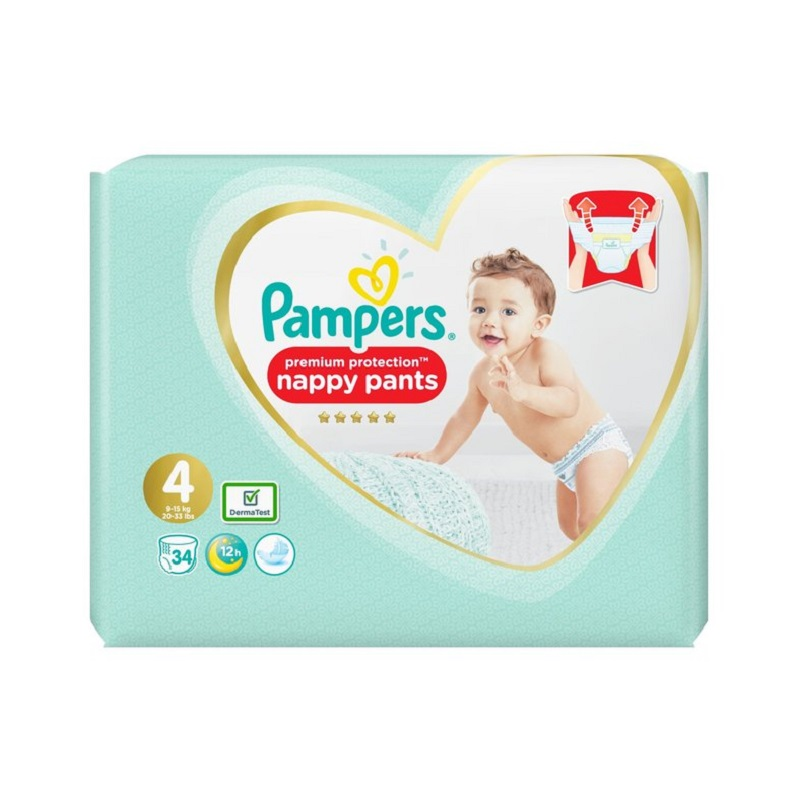 Bỉm Pampers Anh Premium Protection size 4 Quần - 34 miếng (9 - 15kg)