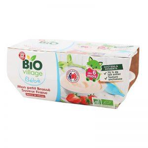 Sữa chua hữu cơ Village BeBe Pháp vị dâu - 100g x 4 hộp (6m+)