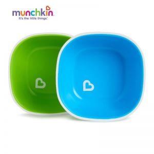 Bát ăn dặm nhựa Munchkin Mỹ - 2 chiếc xanh dương + xanh lá (6m+)