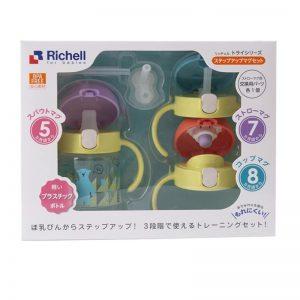 Bộ cốc tập uống + phụ kiện Richell - Xanh (5m+)